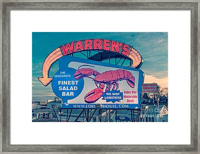 Warrens Lobster House Neon Sign Kittery Maine Framed Print by Edward Fielding