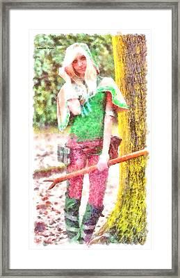 Warrior Girl - Pa Framed Print by Leonardo Digenio