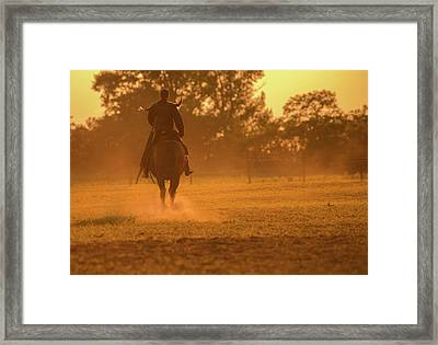 Warrior In Sunset Framed Print by Annamaria Szocs