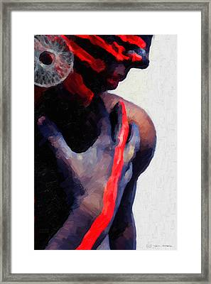 Framed Print featuring the digital art Warrior Princess by Serge Averbukh