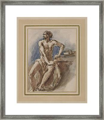 Warrior Seated At A Table Framed Print by MotionAge Designs