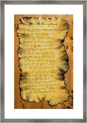 War's Poem Framed Print
