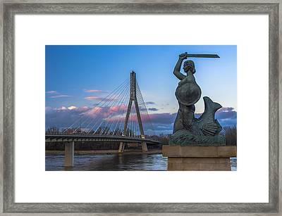Warsaw Mermaid And Swiatokrzyski Bridge On Vistula Framed Print