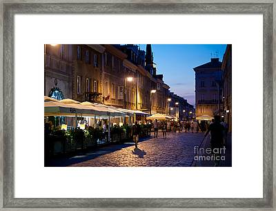 Warsaw Nightlife Tourist Place Framed Print by Arletta Cwalina