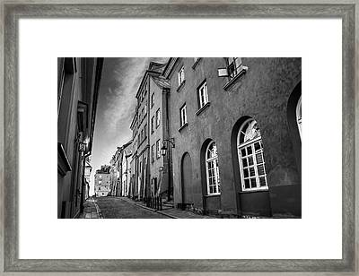 Warsaw Street In Black And White  Framed Print