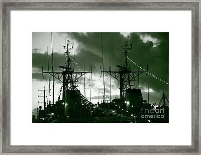 Warships At Twilight Framed Print by Gaspar Avila