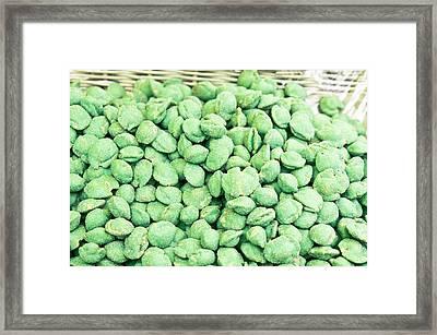 Wasabi Peas Framed Print by Tom Gowanlock