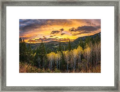 Wasatch Autumn Sunrise Framed Print by James Udall