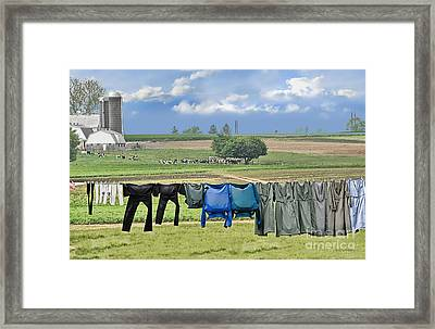 Wash Day In Amish Country Framed Print