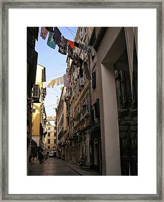 Wash Day In Old Corfu Town Framed Print by Connie Handscomb