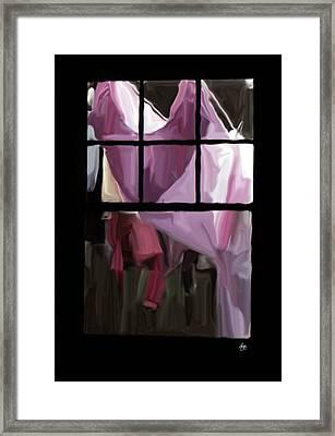 Painted Washline Through A Window Framed Print