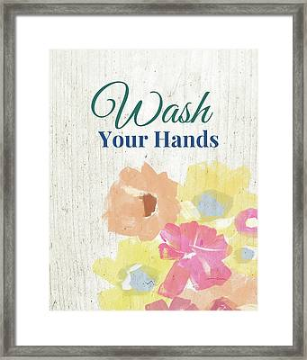 Wash Your Hands Floral -art By Linda Woods Framed Print