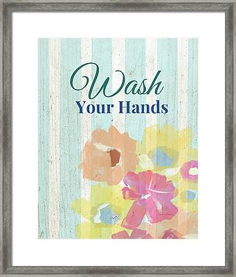 Wash Your Hands Floral Stripe- Art By Linda Woods Framed Print