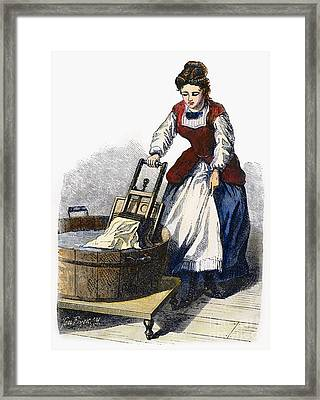 Washboard, 1870 Framed Print