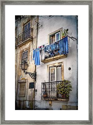 Washday Blues In Lisbon Portugal  Framed Print