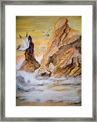 Framed Print featuring the painting Washed Rocks by Carol Grimes
