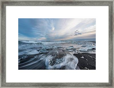 Washed Up Ice Sunset Framed Print