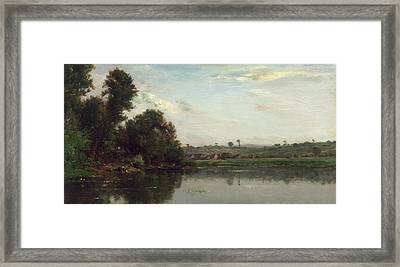 Washerwomen At The Oise River Near Valmondois Framed Print by Charles-Francois Daubigny