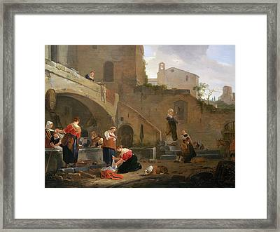 Washerwomen By A Roman Fountain Framed Print by Thomas Wyck