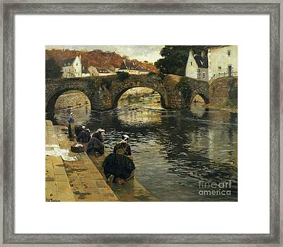 Washerwomen In The Morning At Quimperle  Framed Print