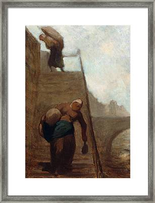 Washerwomen On The Steps Of The Quay Framed Print by Honore Daumier
