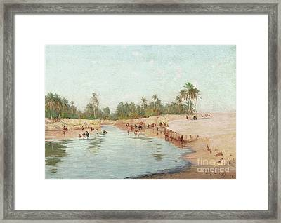 Washerwomen Signed Situated  Framed Print by MotionAge Designs