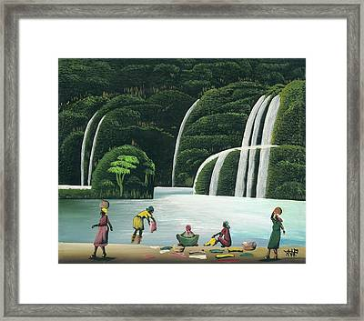 Washing At The Falls Framed Print by John Paul Joseph