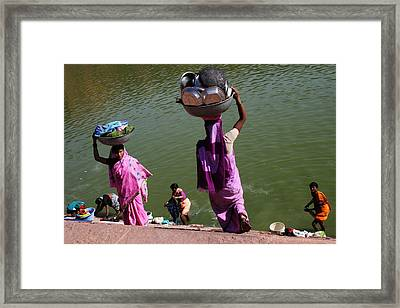 Washing Day Sari Clad Women Ghat Steps India Framed Print by Jane McDougall