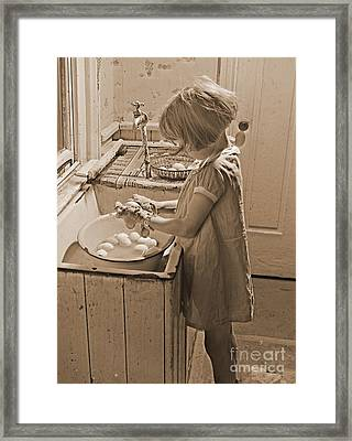 Washing Eggs Sepia Framed Print by Padre Art