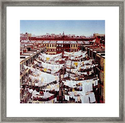 Washing Hung Outside Tenement Buildings Framed Print by Everett