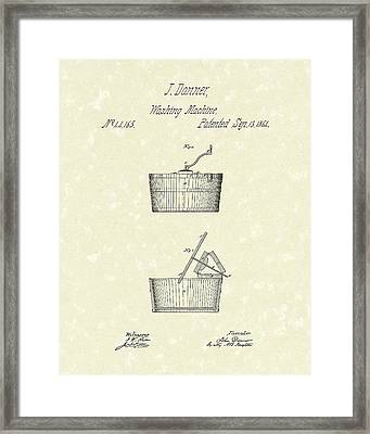 Washing Machine 1861 Patent Art Framed Print by Prior Art Design