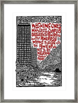 Washing Ones Hands Framed Print by Ricardo Levins Morales