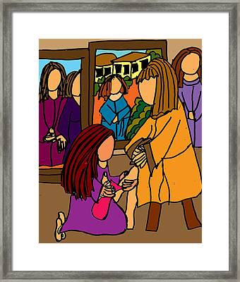 Washing The Feet Of Jesus Framed Print by Nanette Patricia Evans