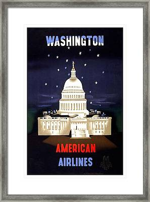 Washington, American Airlines - Retro Travel Poster - Vintage Poster Framed Print