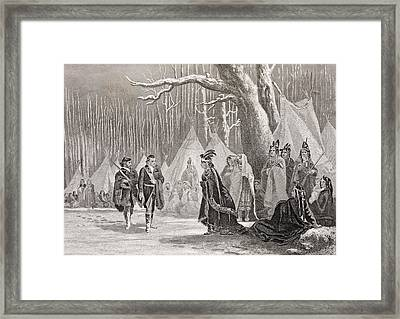 Washington And Gist Visit Indian Queen Framed Print by Vintage Design Pics