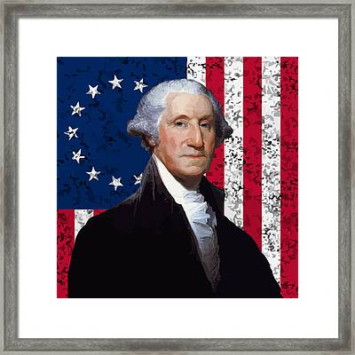 Washington And The American Flag Framed Print