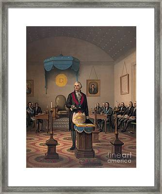 Washington As A Master Mason Framed Print by American School