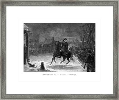 Washington At The Battle Of Trenton Framed Print by War Is Hell Store