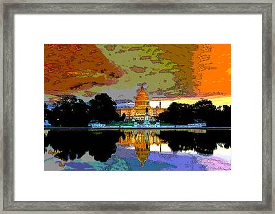 Washington Capitol At Sunset Framed Print by Charles Shoup