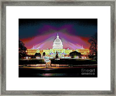 Washington Capitol Sunset Framed Print