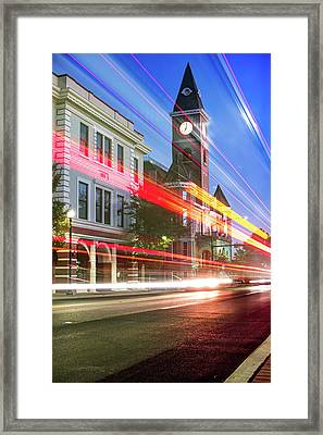 Washington County Courthouse At Night Fayetteville Arkansas Framed Print
