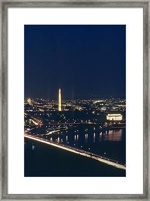 Washington D.c. At Night, Seen Framed Print by Kenneth Garrett