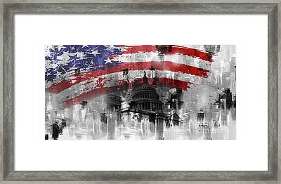Framed Print featuring the painting Washington Dc Building 01a by Gull G