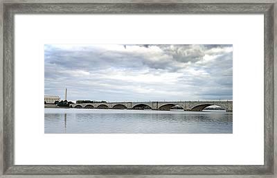 Washington Dc Memorial Bridge Panorama Framed Print by Brendan Reals