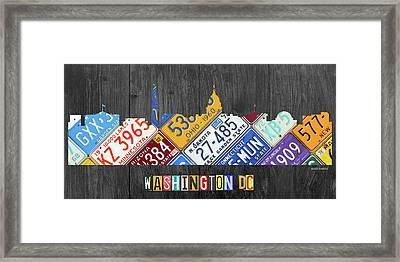 Washington Dc Skyline Recycled Vintage License Plate Art Framed Print by Design Turnpike