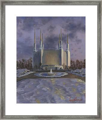 Washington Dc Temple Framed Print by Jeff Brimley