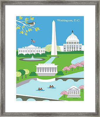 Washington, D.c. Vertical Skyline Framed Print by Karen Young