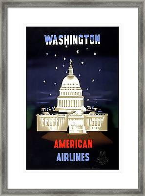 Washington D C Vintage Travel C. 1950 Framed Print by Daniel Hagerman