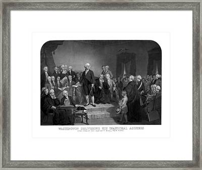 Washington Delivering His Inaugural Address Framed Print
