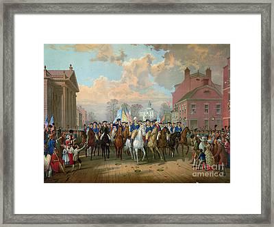 Washington Entering New York City 1783 Framed Print by Granger